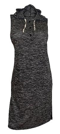 09f26835daf eVogues Plus Size Sleeveless Knit Hoodie Dress Gray - 1X at Amazon ...