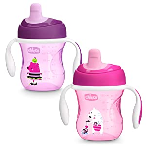 Chicco Semi-Soft Spout Spill Free Baby Trainer Sippy Cup, 6 Months, Pink/Purple, 7 Ounce (Pack of 2)