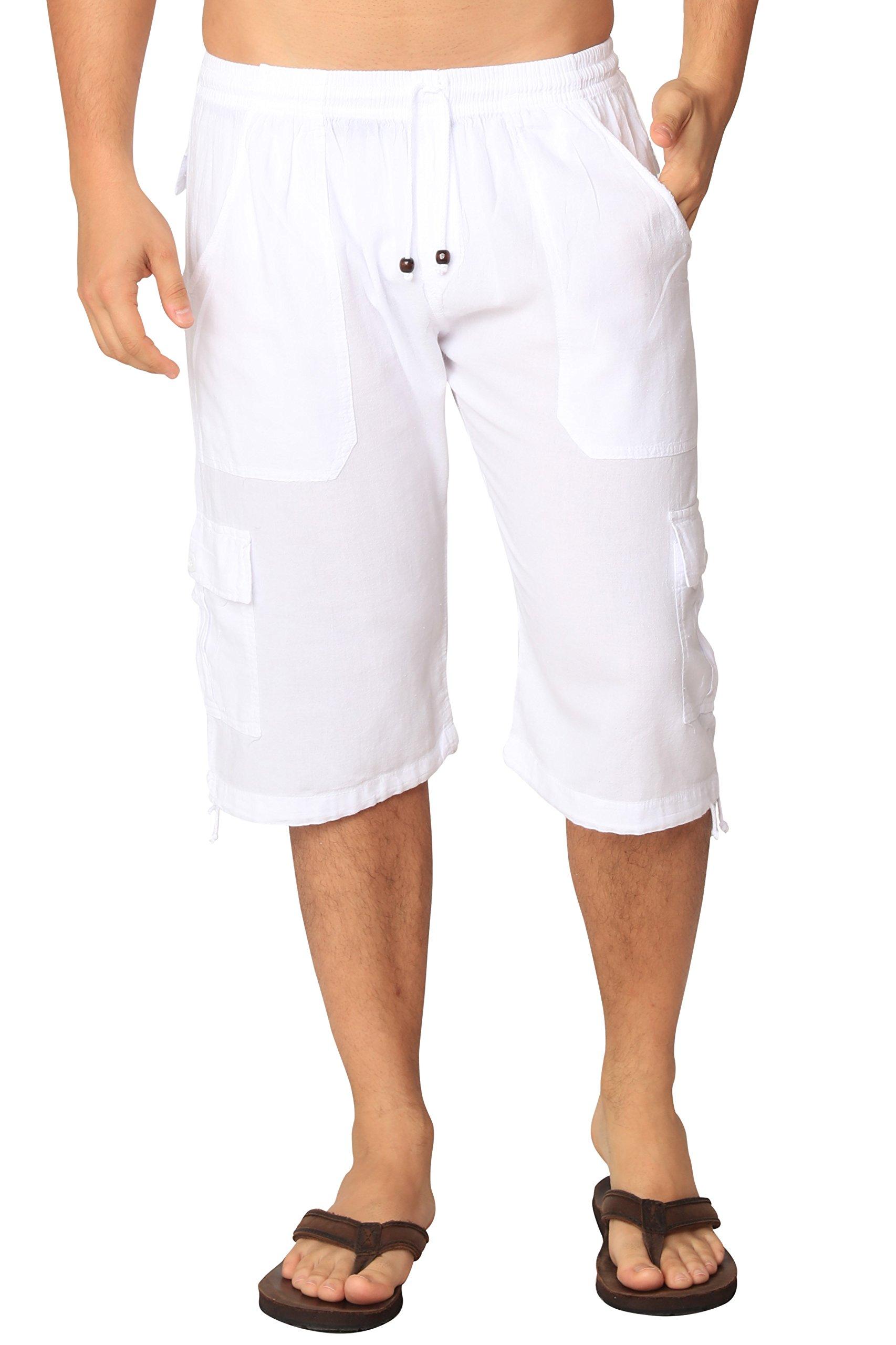 M&B USA Cotton White Loose Fit Summer Cargo Shorts Solid Multi-Pocket Casual Capri Elastic Waistband Pants (Large, White)