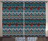 Native American Curtains by Lunarable, Colorful Ethnic Geometric Mexican Pixel Art Pattern Indigenous Native Style, Living Room Bedroom Window Drapes 2 Panel Set, 108 W X 63 L Inches, Multicolor