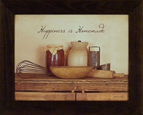 Kitchen framed art Contemporary Image Unavailable Amazoncom Amazoncom Happiness Is Homemade 16x20 Primitive Vintage Kitchen