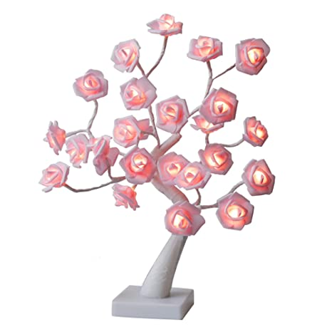 Amazon.com: Vanthylit - Lámpara de mesa LED con rosa, 17.7 ...