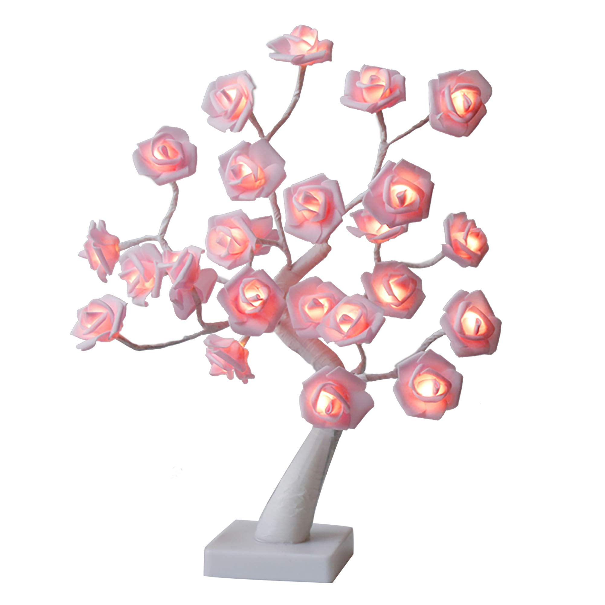 EAMBRITE 18'' Led Rose Flower Table Tree with 24 Warm White LED Lights for Valentine's Wedding Living Room Bedroom Party Women Girls Table Lamp