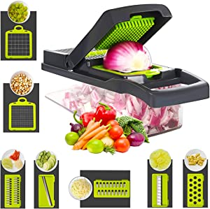 Vegetable Chopper Cutter Slicer Onion Chopper Pro Manual Grater Food Slicer Container 12-in-1 Vegetable Spiralizer Fruit-Cheese-Potato Chopper-Dicer Multi Blades Kitchen