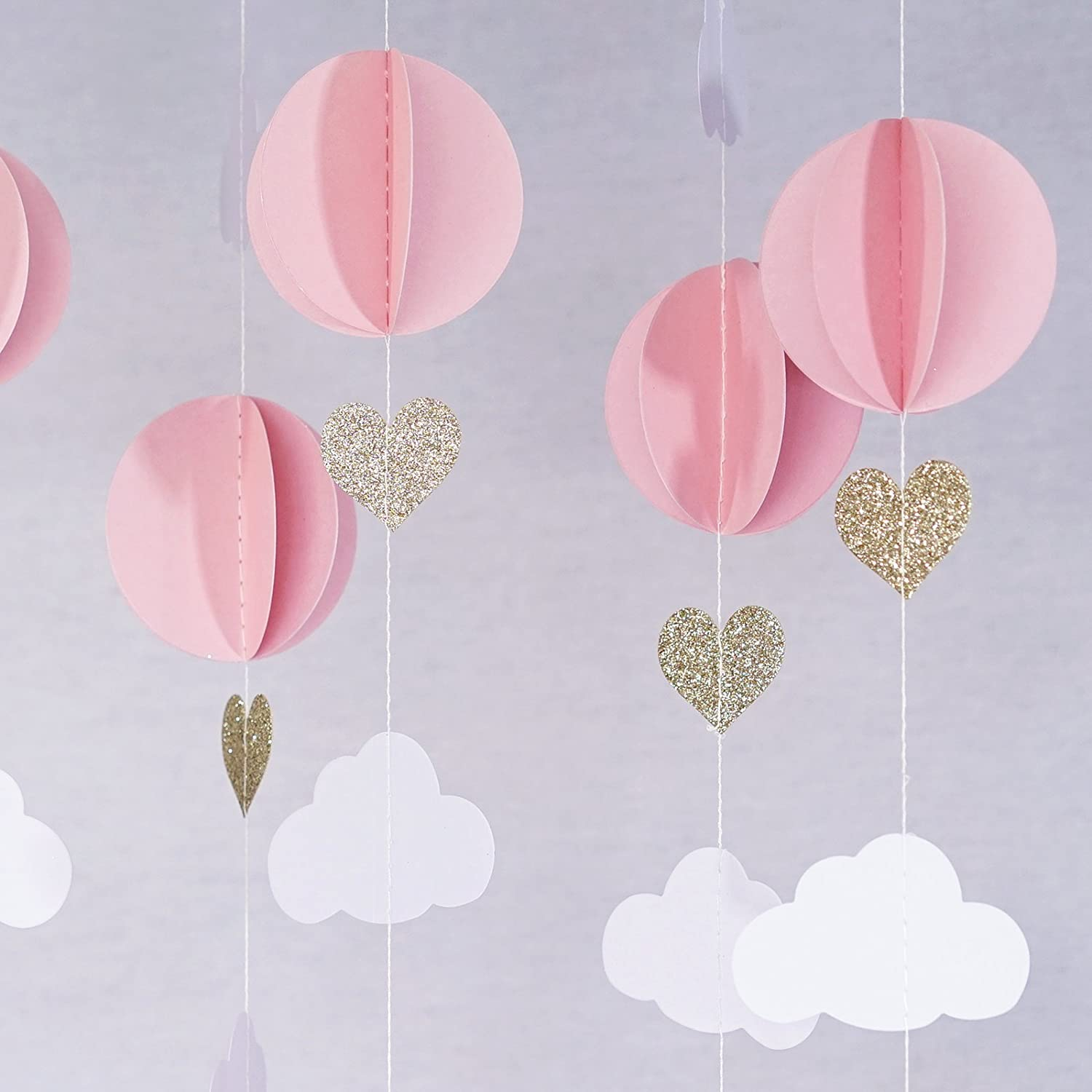 Amazon.com: Hot Air Balloon 3D Paper Garland Baby Room Nursery Decor ...