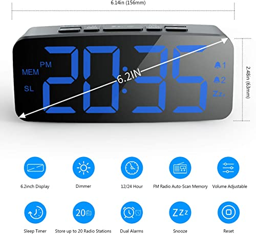 HAPTIME Digital Alarm Clock Radio 6.2 Large LED Display with 4 Brightness Dimmer, Dual Alarms, Snooze, 12 24H, FM Radio with Sleep Timer, Blue Digits Clock for Home Bedside Bedroom