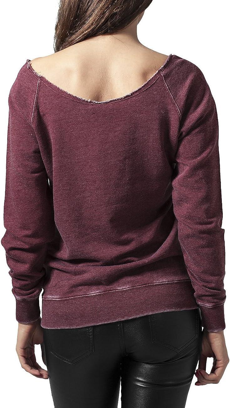 Urban Classics Damen Sweatshirt Ladies Burnout Open Edge Crew