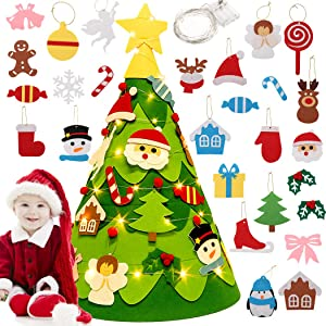 Outgeek 3D DIY Felt Christmas Tree Set with 28pcs Hanging Felt Ornaments LED String for Kids Toddlers Children Xmas Gifts Christmas Holiday Home Decorations Party Supplier