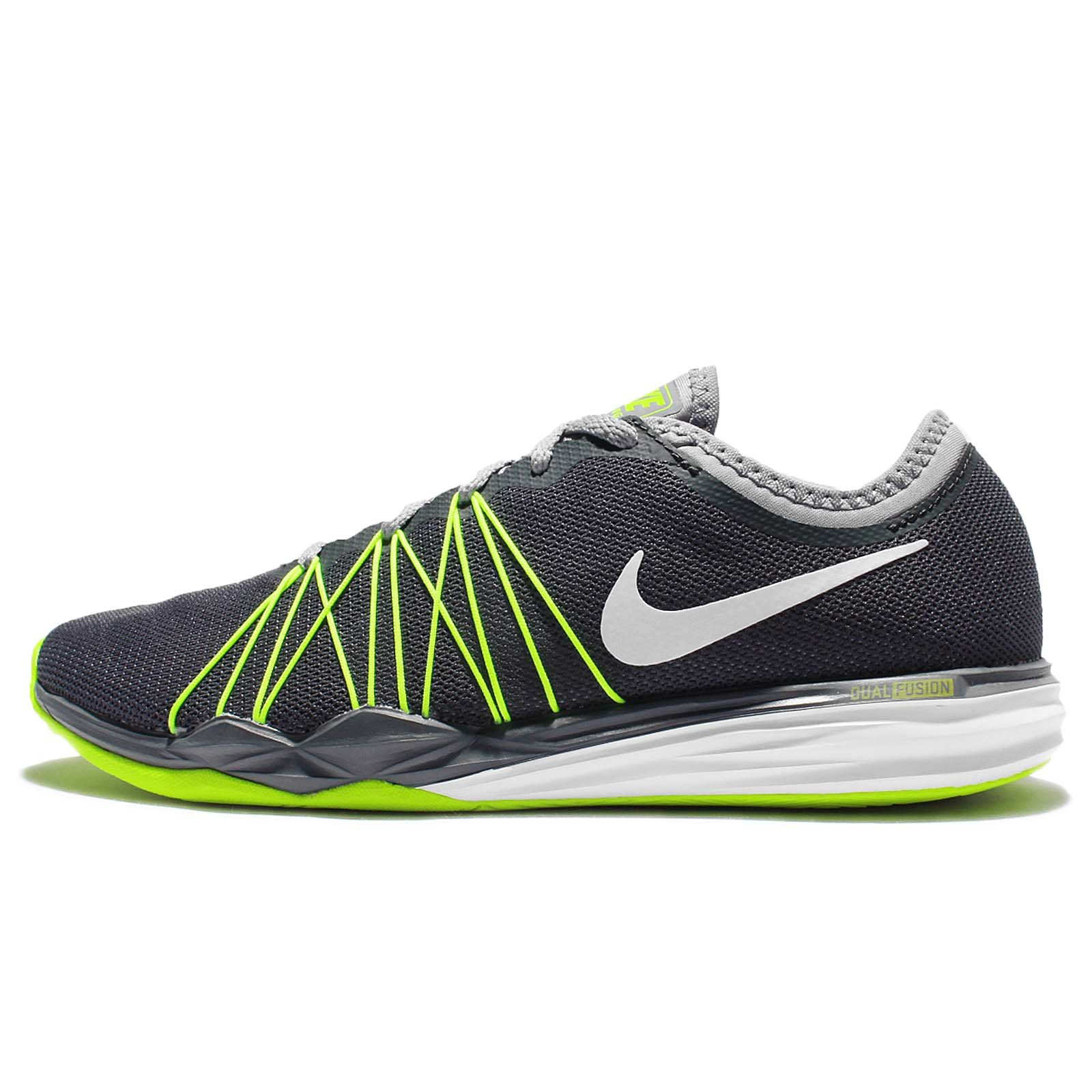NIKE Womens Dual Fusion TR Hit Fabric Low Top Lace Up Running, Grey, Size 7.5