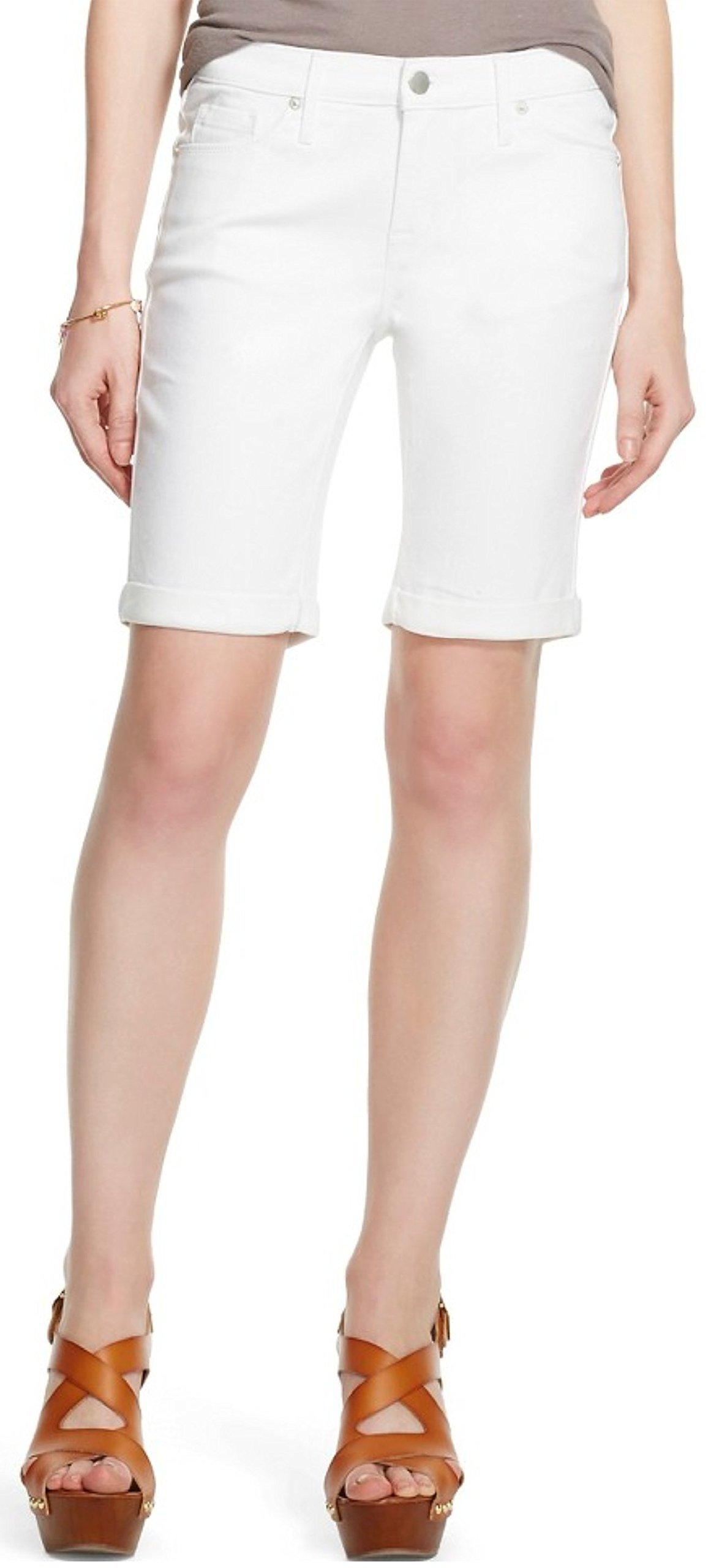 Mossimo Women's Mid-Rise Bermuda Jean Shorts (18/34, Fresh White)
