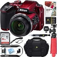 Nikon COOLPIX B500 16MP 40x Optical Zoom Digital Camera w/ WiFi - Red (Renewed) + 16GB SDHC Accessory Bundle