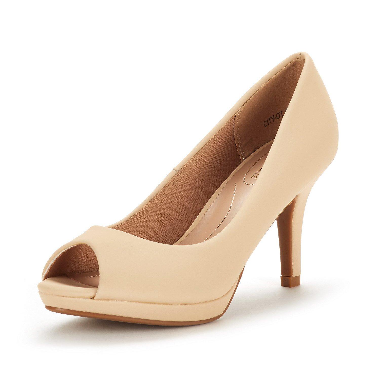 DREAM PAIRS Women's City_OT Nude Nubuck Fashion Stilettos Peep Toe Pumps Heels Shoes Size 6.5 B(M) US