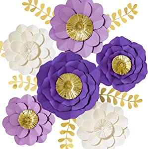 3D Paper Flower Decorations, Giant Paper Flowers, Large Handcrafted Paper Flowers (Purple, Lavender, Beige, Set of 6) for for Wedding Backdrop, Bridal Shower, Table Centerpieces, Nursery Wall Decor