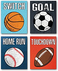 "CHDITB Unframed Sports Themed Wall Art Print Modern Balls Art Picture,Set of 4(8"" x10"" ) Canvas Posters for Boy Room or Nursery Decor,Basketball Boys Gift"