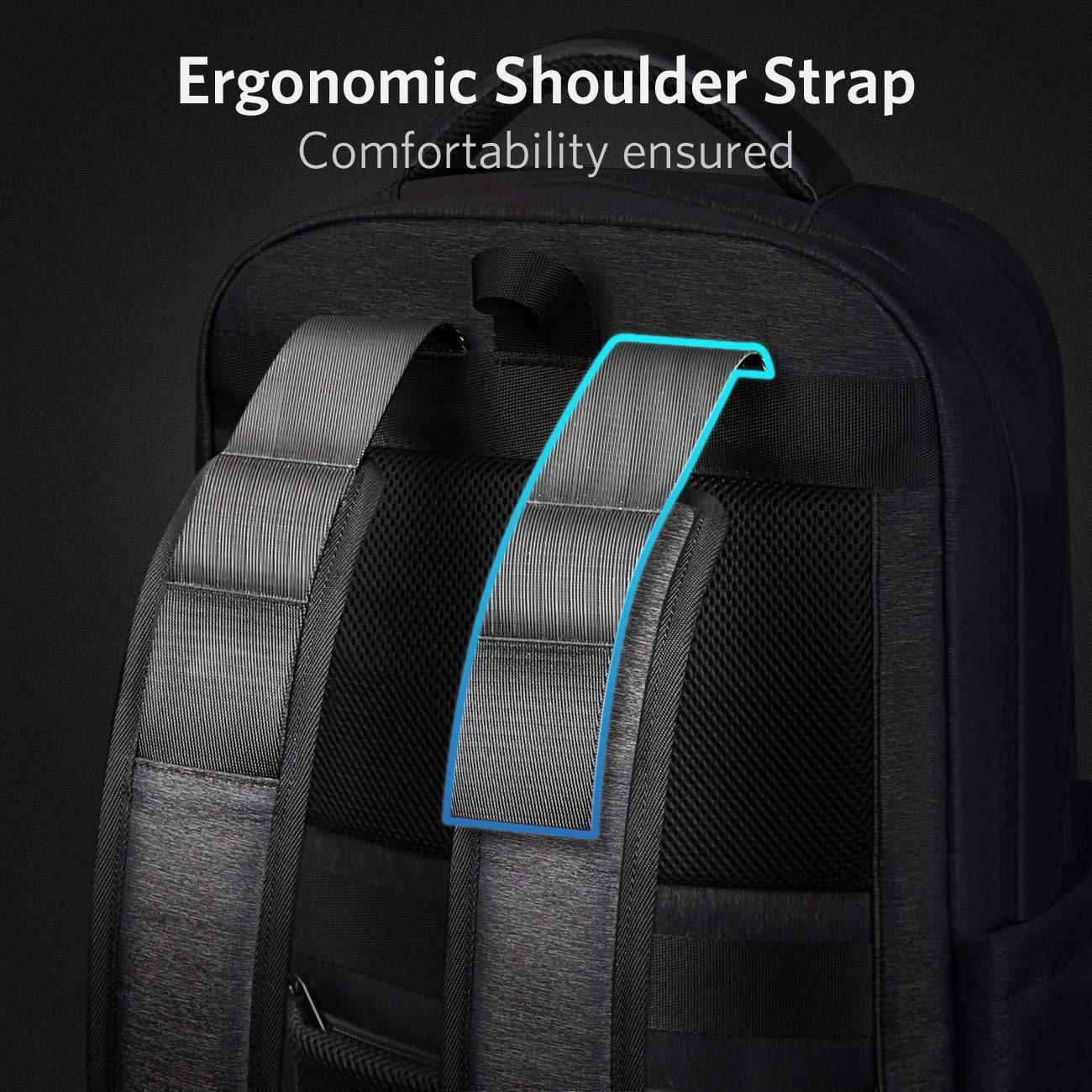 Inateck Slim Laptop Backpack Fits 15.6 Inch Laptops, Business Travel Bag Rucksack with Waterproof Rain Cover USB Charging Port , Dark Grey