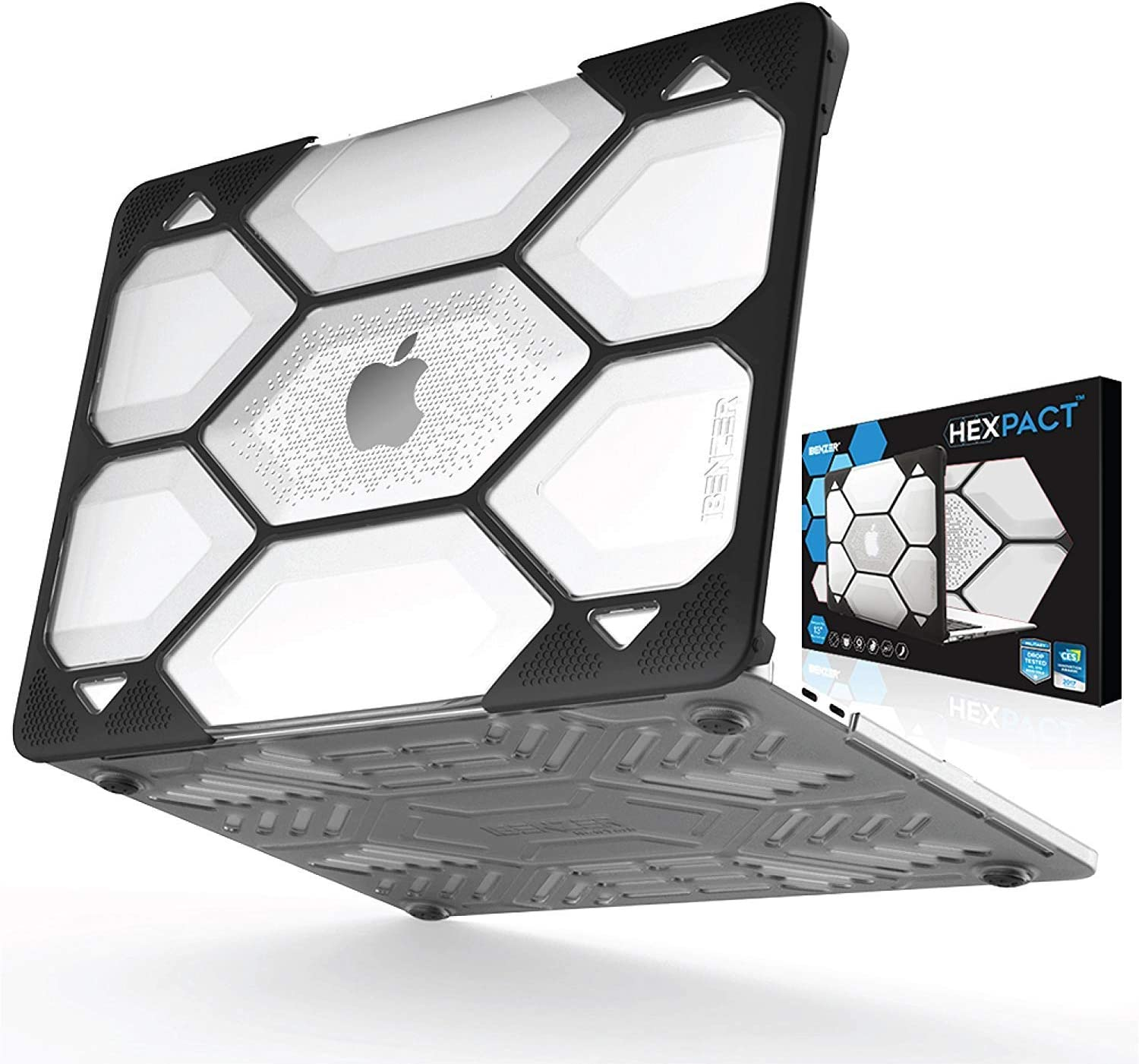 IBENZER Hexpact MacBook Pro 13 Inch Case 2015 2014 2013 2012 A1502 A1425, Heavy Duty Protective Hard Shell Case Cover for Old Version Apple Mac Pro Retina 13, Clear, HR13CYCL
