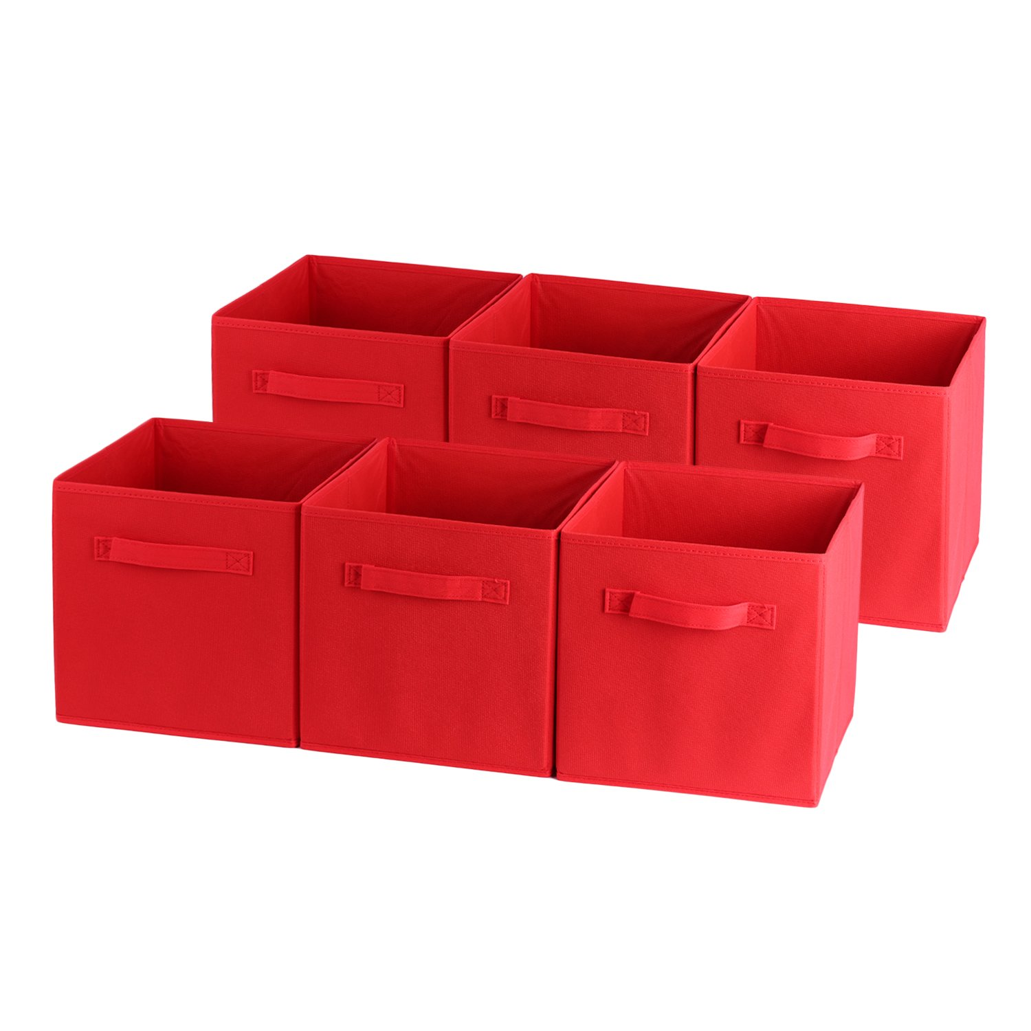 Fabric Drawer,Cozime Foldable Cloth Storage Cube Basket Bins Organizer Containers Drawers for Nurseries, Offices, Closets, Home, Cube Organizers & Everyday Storage Needs (6 PC Red) by Cozime