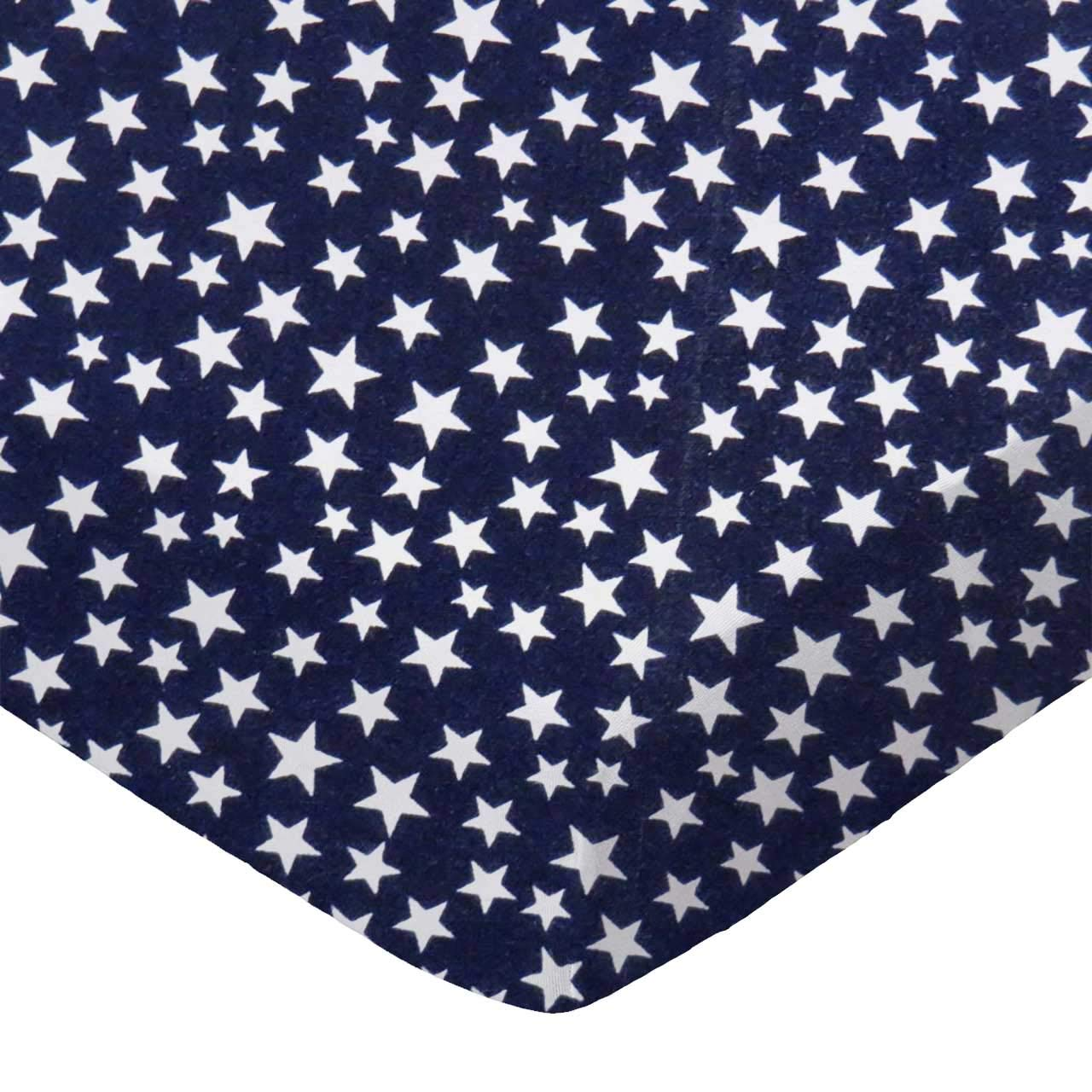 SheetWorld 100% Cotton Percale Fitted Crib Toddler Sheet 28 x 52, Primary Stars White On Navy Woven, Made in USA by SHEETWORLD.COM