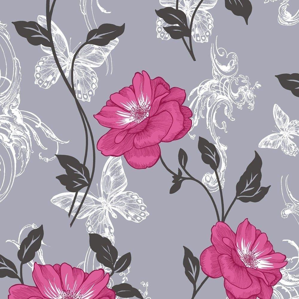 Flower Wallpaper Floral Paisley Modern Millie Grey Pink Black