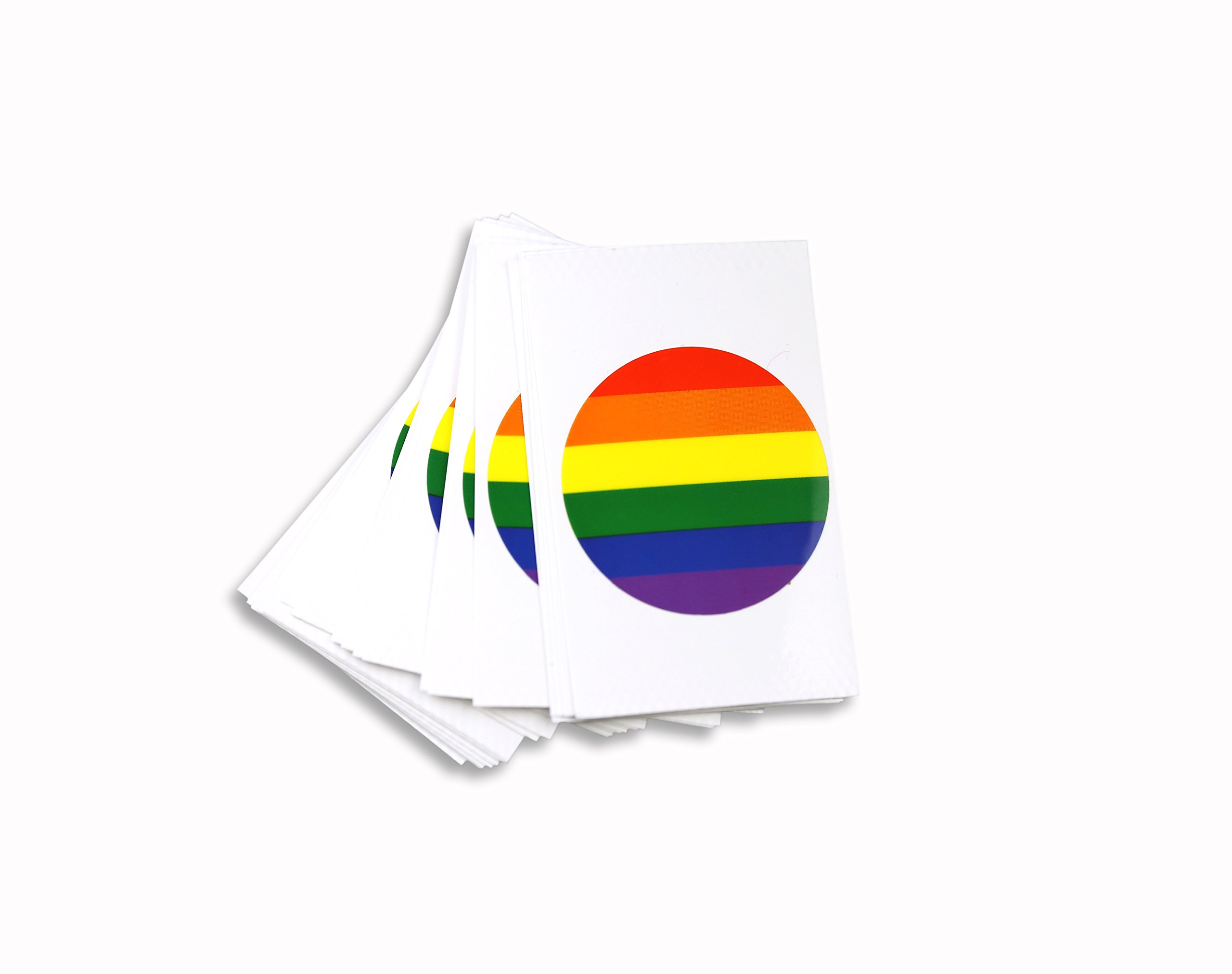 25 Gay Pride Round Rainbow Decal - (25 Decals - Wholesale) product image