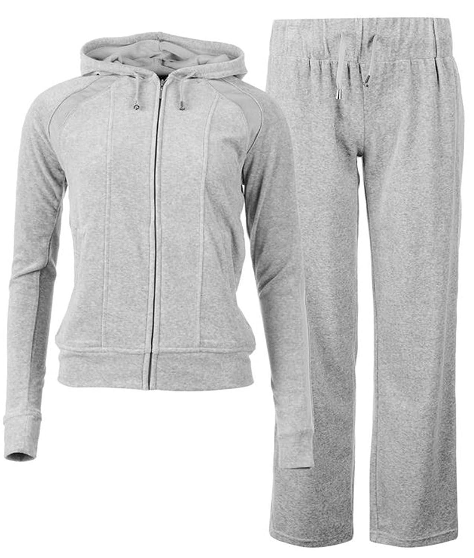 Ladies Full Zip Hooded Velour Suit Tracksuit
