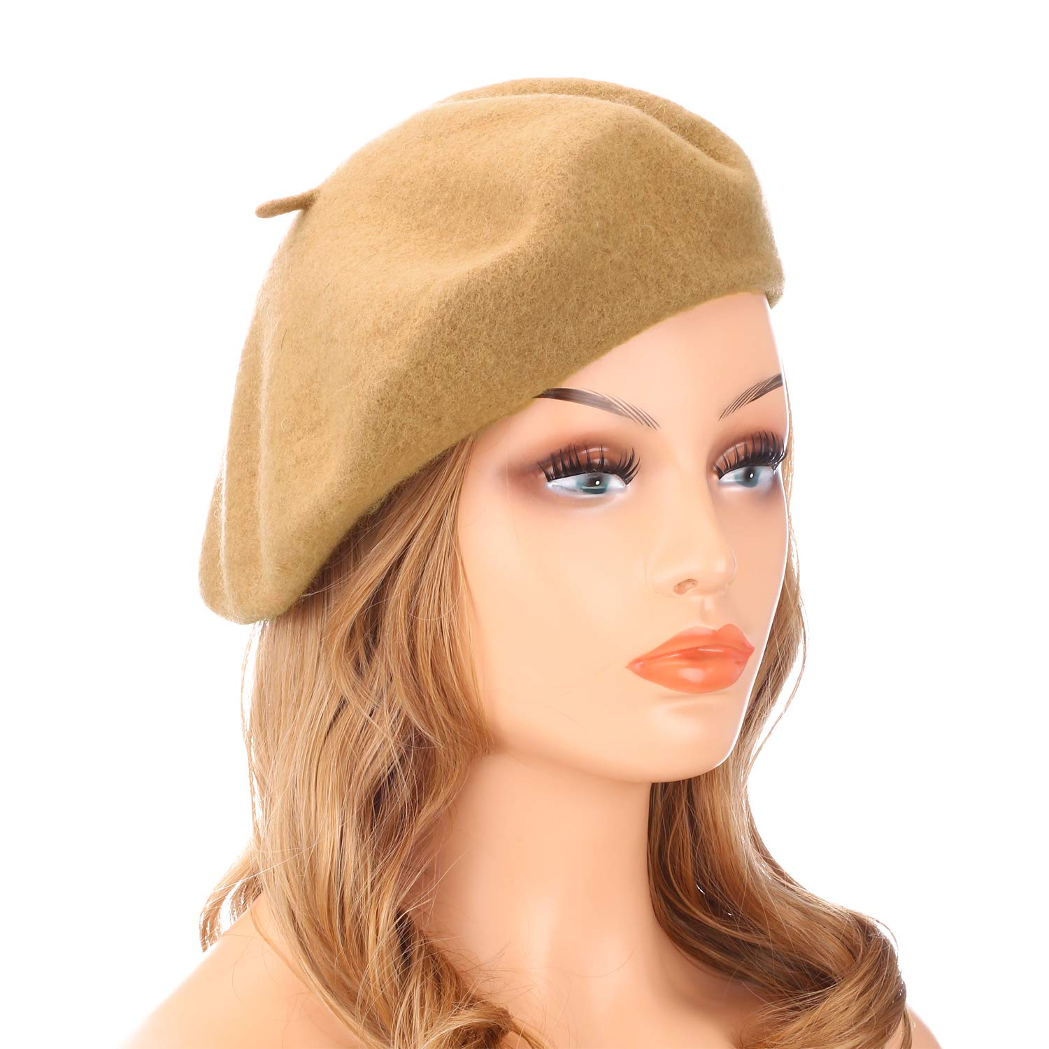 Wheebo Wool Beret Hat,Solid Color French Style Winter Warm Cap for Women Girls (Camel)