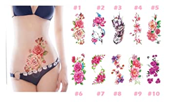 53ef9bae9 1PC New Fashion Removable Women Lady 3D Flowers Waterproof Temporary Tattoo  Stickers Beauty Body Art Easy Wear And Easy Clean (#10) : Beauty