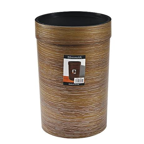 Plastic Wood Grain Trash Can Plastic Kitchen Trash Can (Brown)
