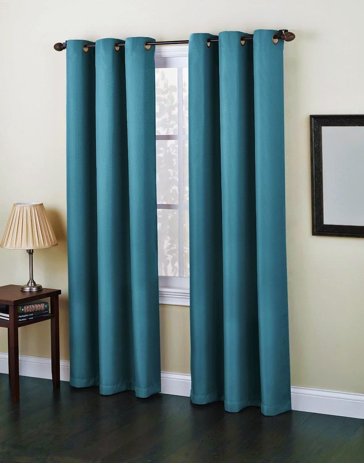 Gorgeous HomeDIFFERENT Solid Colors & Sizes (#86) 1 Panel Solid Foam Lined Blackout Jacquard Window Curtain Drapes Bronze Grommets (Turquoise, 63