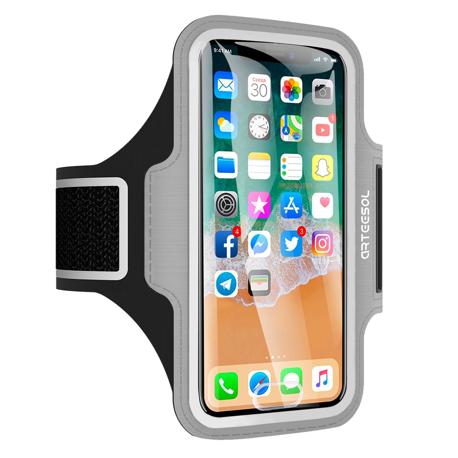 iPhone X Armband, ARTEESOL Sweat Proof Cell Phone Holder 5.2 Inch with Fingerprint Touch for iPhone X/8/7/6/5, Galaxy S7/S6/S4, Note 4, LG, Moto, Phone Pouch for Running Workout (Gray)