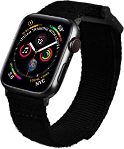 MOFREE Bands Compatible with 44mm Apple Watch Band 42mm Series 5, Soft Nylon Breathable Woven Loop Sport Strap Wristband Replacement Band Compatible for iWatch Band 44mm/42mm Series /4/ 3/2/ 1 Men Black