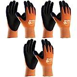 ATG 3 Pack MaxiFlex Ultimate Hi-Vis Work Gloves 34-8014, (Sizes S-XL), X-Large, Orange
