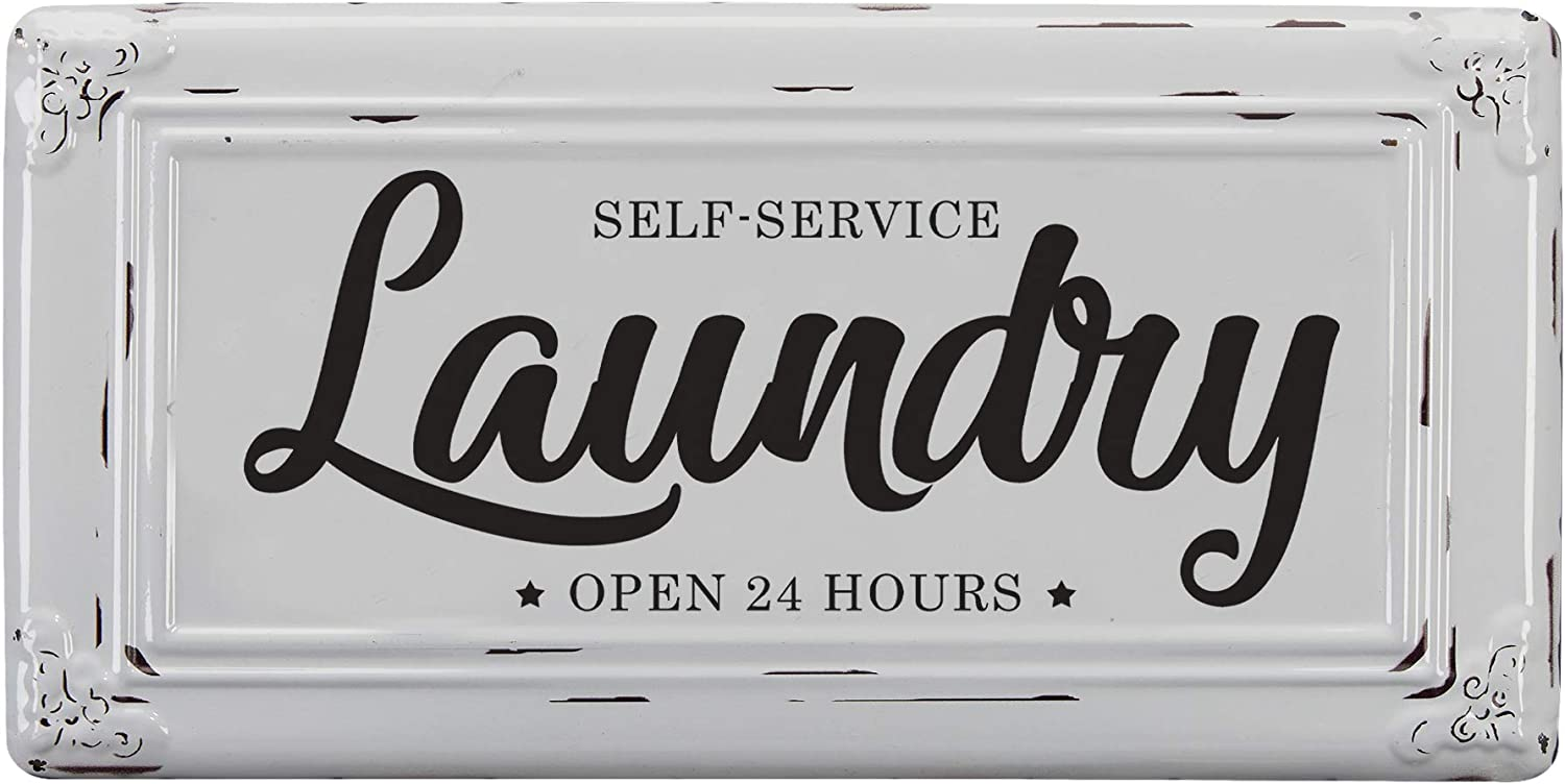 "Barnyard Designs Self-Service Laundry Wall Sign Vintage Primitive Country Laundry Room Home Decor 14"" x 7"""