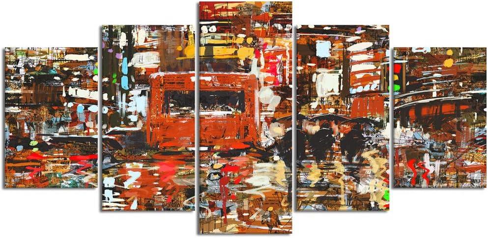 ZORMIEY Cuadro en Lienzo,5 Partes Pintura al óleo Caballo árabe tormenta de Arena Desierto Caballo Blanco Caballo Gris Hermoso Horse de Arte de Pared Decoración del Hogar para el Cartel Modular