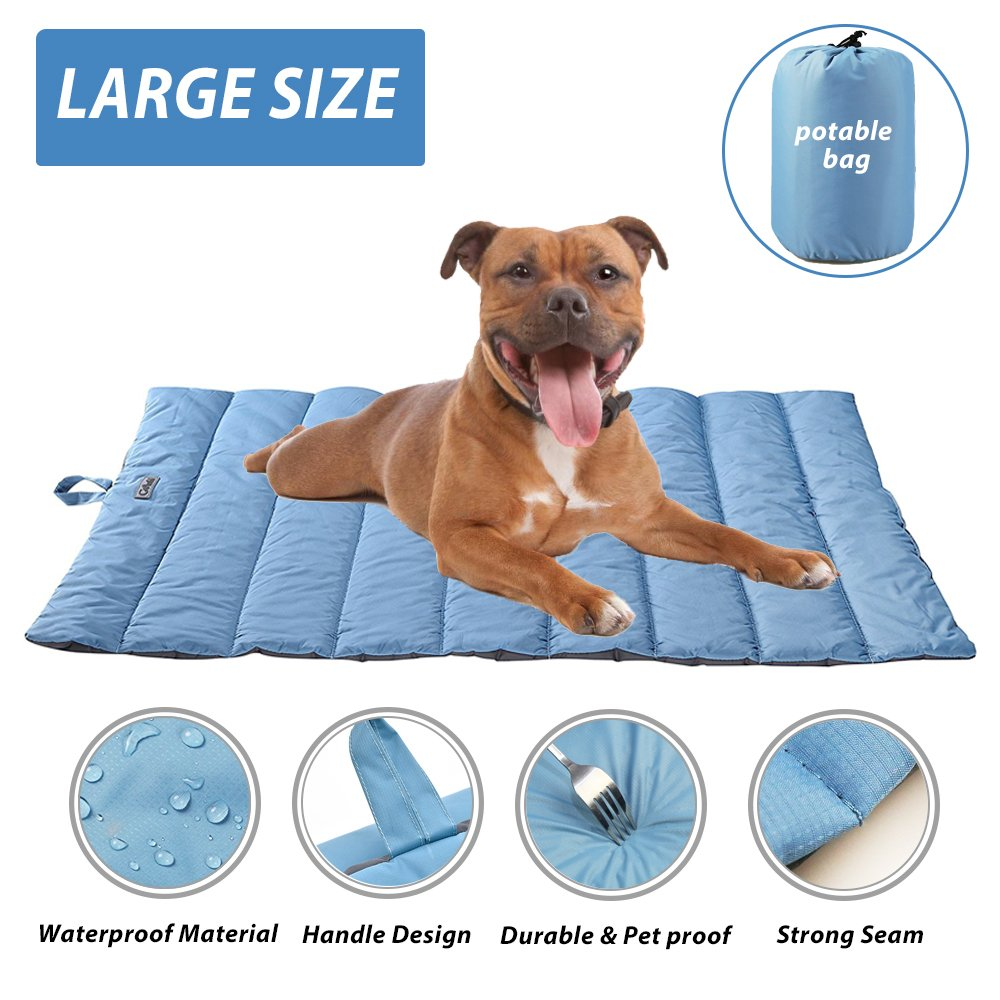 Portable Waterproof Soft Dog Mat for Dog Bed Couch Cushions Indoor or Outdoor Dog Blanket Blue Large by furrybaby (Image #1)