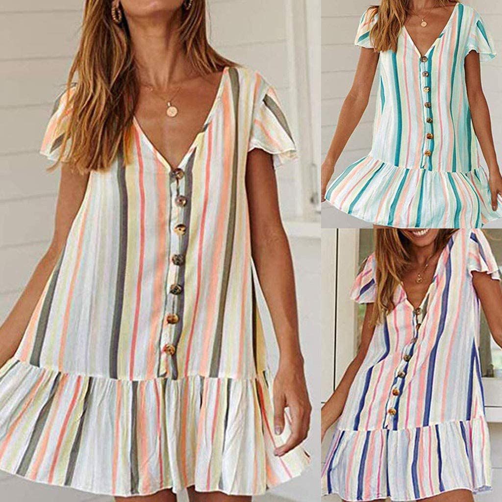 Sunmoot Clearance Sale Women Multicolor Stripe Ruffle Mini Dress,Ladies Summer Casual Button Short T-Shirt Dresses