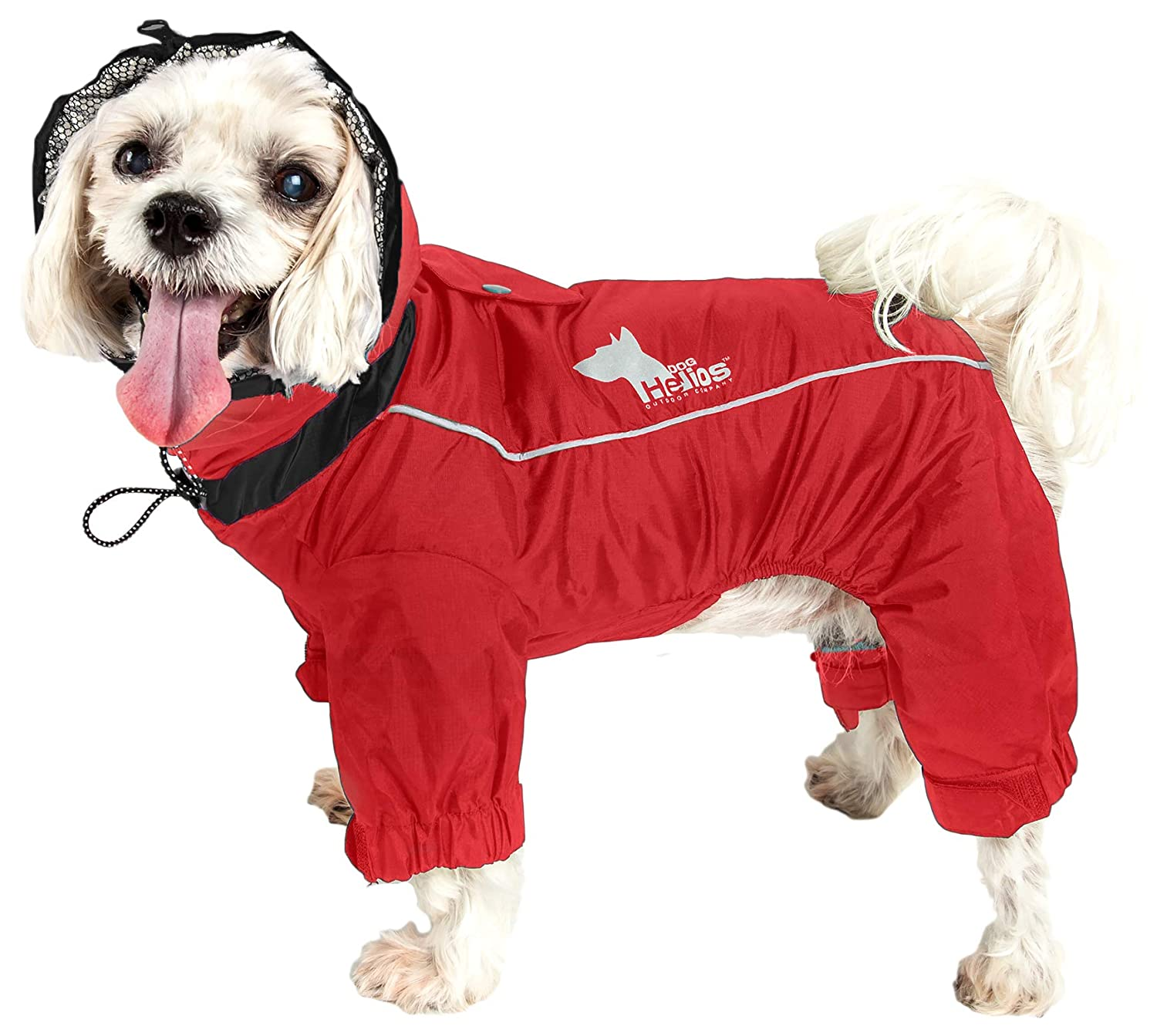 DOGHELIOS Weather-King Windproof Waterproof and Insulated Adjustable Full Bodied Pet Dog Jacket Coat w//Heat Retention Technology Red Large
