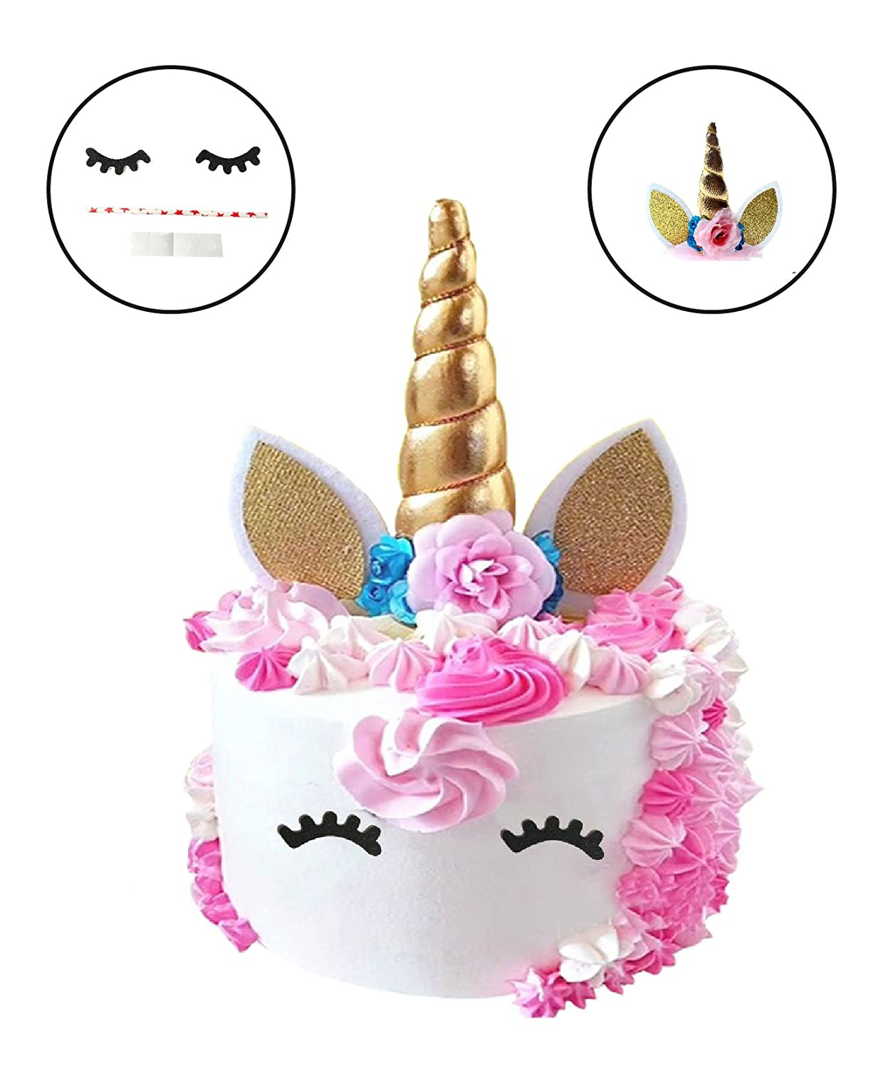 Unicorn Cake Toppers – Shimmering Unicorn Horn Ears for Party Cakes – Flowers Cake Décor and Unicorn Toppers – Baby shower, Wedding – Cake Accessories – Handcrafted Unicorn Toppers