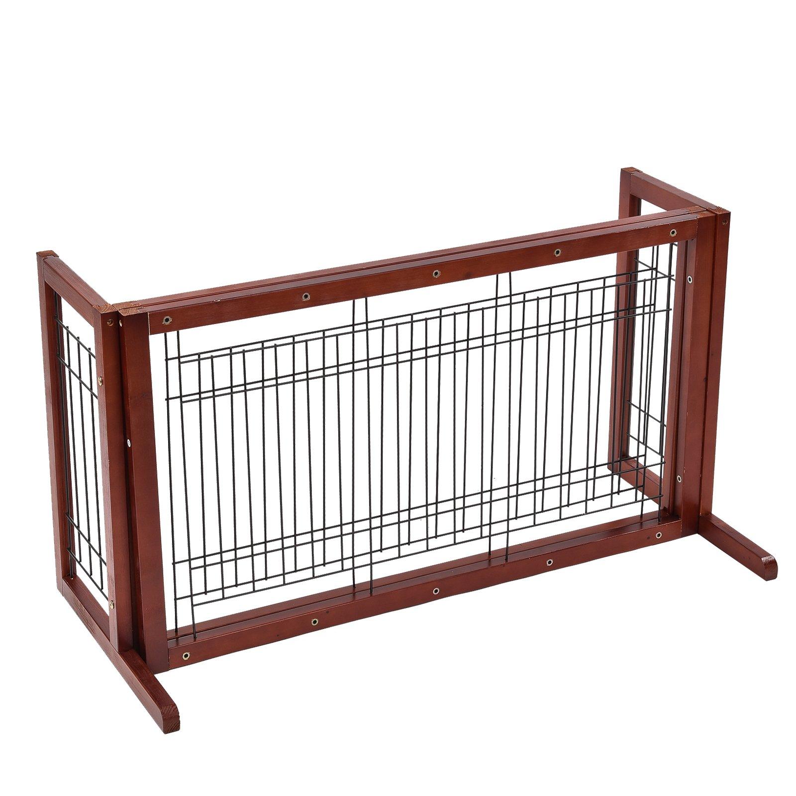 SUNCOO Adjustable Freestanding Dog Gate Solid Construction Indoor Pet Fence Dark Brown