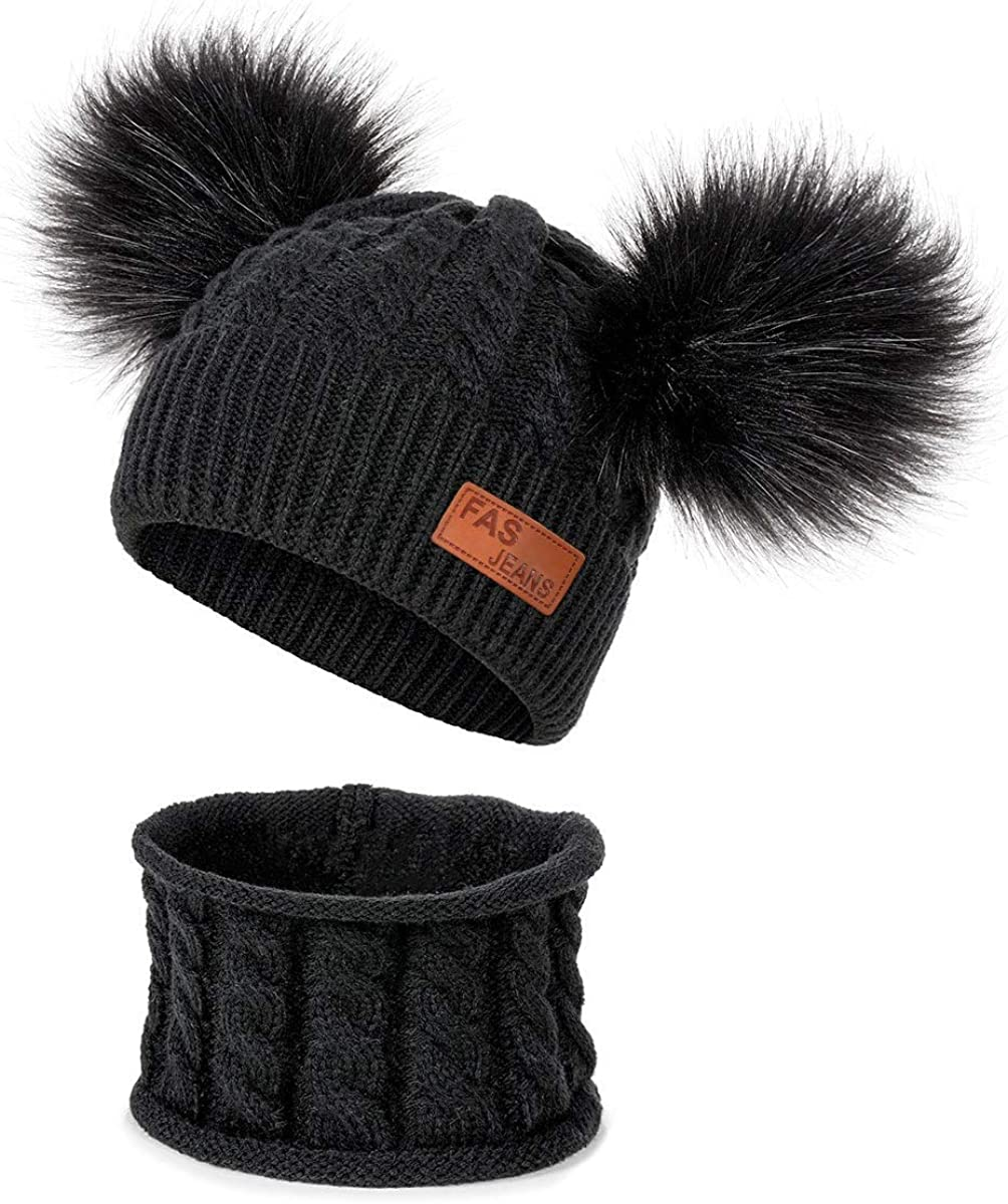 2pcs Pom Beanie Knit Cap Hats for Children Baby Boys Girls Toddler 1-6 Years Peng Sheng Kids Winter Warm Hat and Scraft