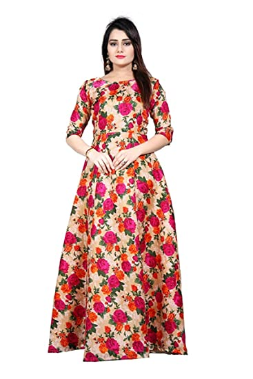 be363268c9 Shyam Export Girl s Cotton Semi-Stitched Party Wear Long Anarkali Gown  (Multicolour
