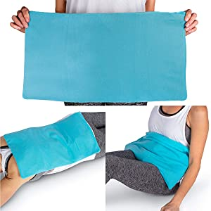 "ICEWRAPS Flexible Icing Compress for Therapy 12""x21"" Reusable Oversize Multipurpose Cold Clay Pack for Back, Sciatica, Knee, Hip Pain Relief - Includes Free Bonus Fabric Cover"
