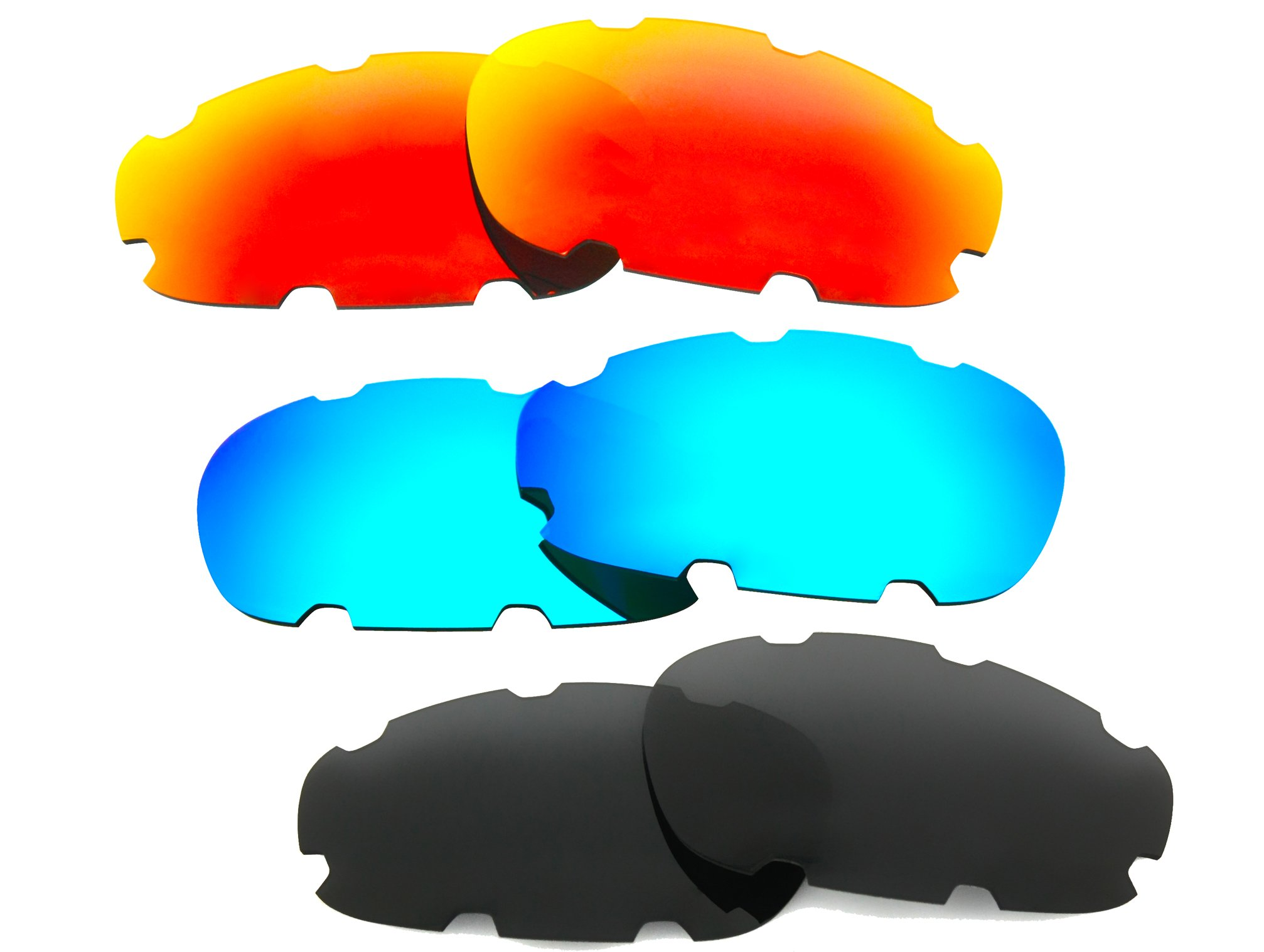 3 Pairs Polarized Replacement Vented Sunglasses Lenses for Oakley Split Jacket with Excellent UV Protection