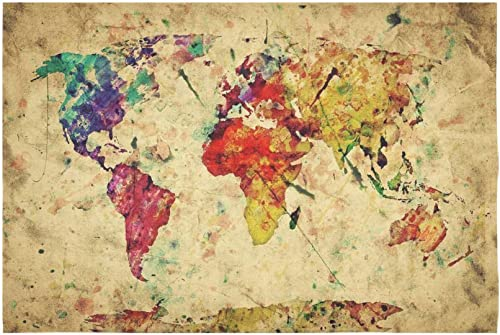 INTERESTPRINT Earth Map Wall Art Home Decor, Vintage Retro World Map Tapestry Wall Hanging Art Sets 90 X 60 Inches