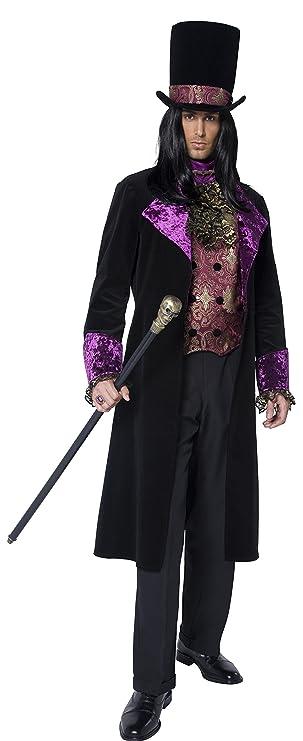 Smiffys-36117XL Miffy Disfraz de Conde gótico, con Falso Chaleco, corbanda incorporada, FRAC y sombrer, Color Negro, XL-Tamaño 46