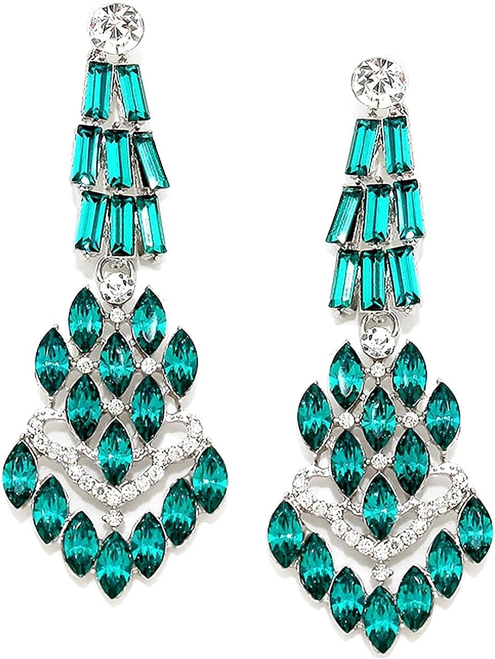 Schmuckanthony Diseñador Lujo Tarde de noche Boda Bola Pendientes largos Cristal Transparente Verde esmeralda 7 cm de largo
