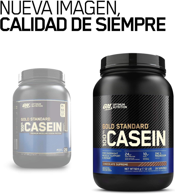 Optimum Nutrition Gold Standard Casein, Proteinas de Caseina en Polvo con BCAA Aminoacidos Esenciales, Zinc y Magnesio en Polvo, Chocolate, 28 ...