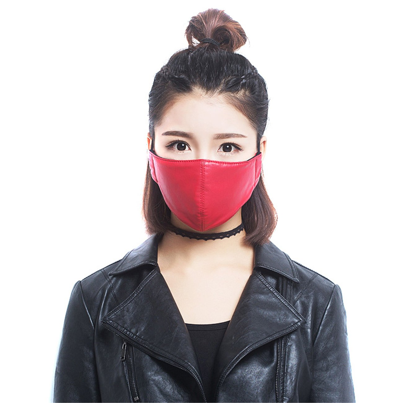 Personality Waterproof Anti-haze PU Leather Motorcycle Biker Dust Mouth Mask Outdoor Protection Face Mask for Men Women Travel (red)