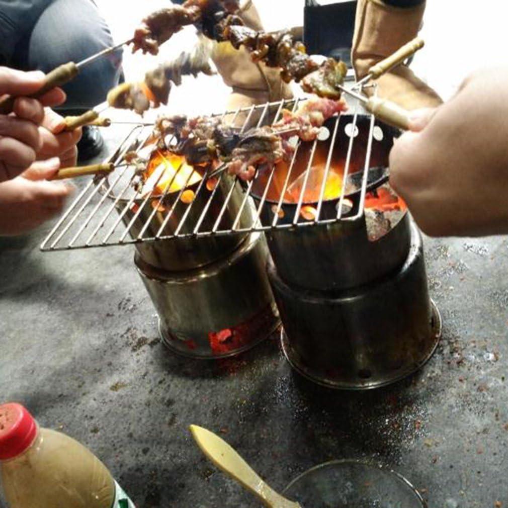 barbacoa picnic con bolsa de malla para acampada Hornillo de camping port/átil cocina en exterior alcohol en gel o madera para carb/ón de acero inoxidable