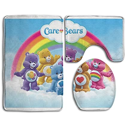 amazon com care bears fashion bathroom rug mats set 3 piece anti